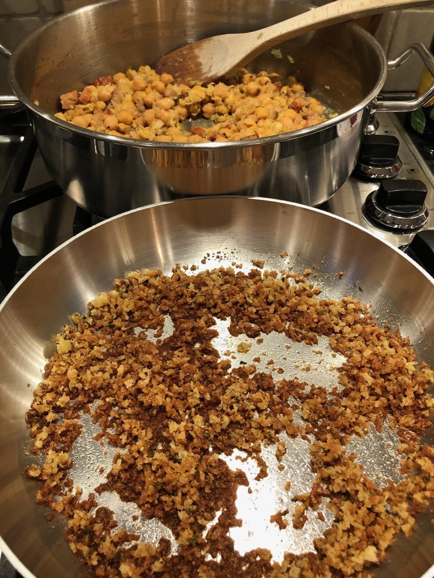 Chick peas and bread crumbs being toasted
