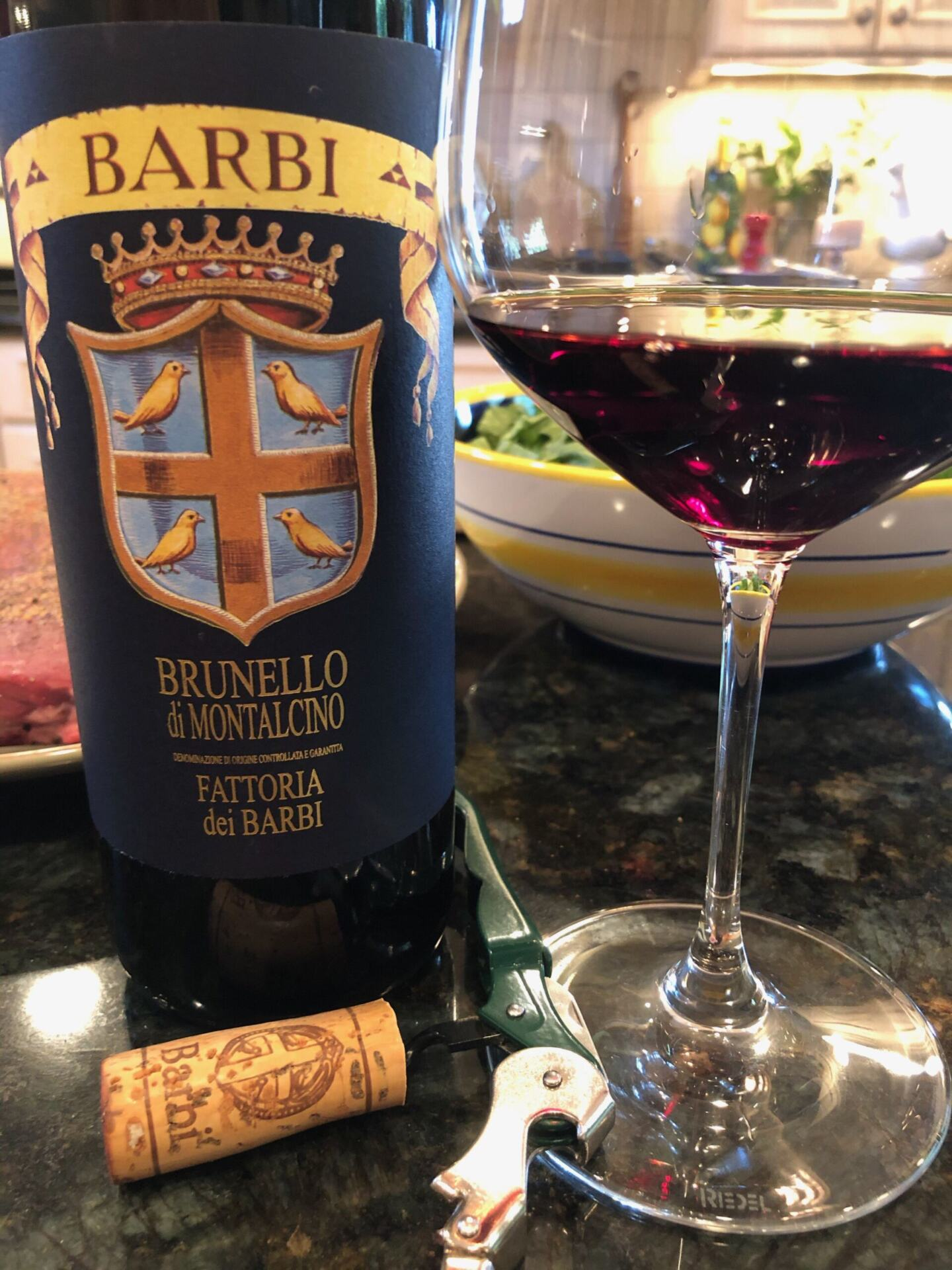 Barbi Brunello in glass and bottle