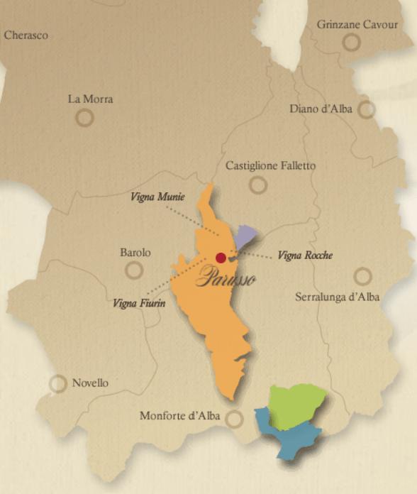 Map of Barolo wine region