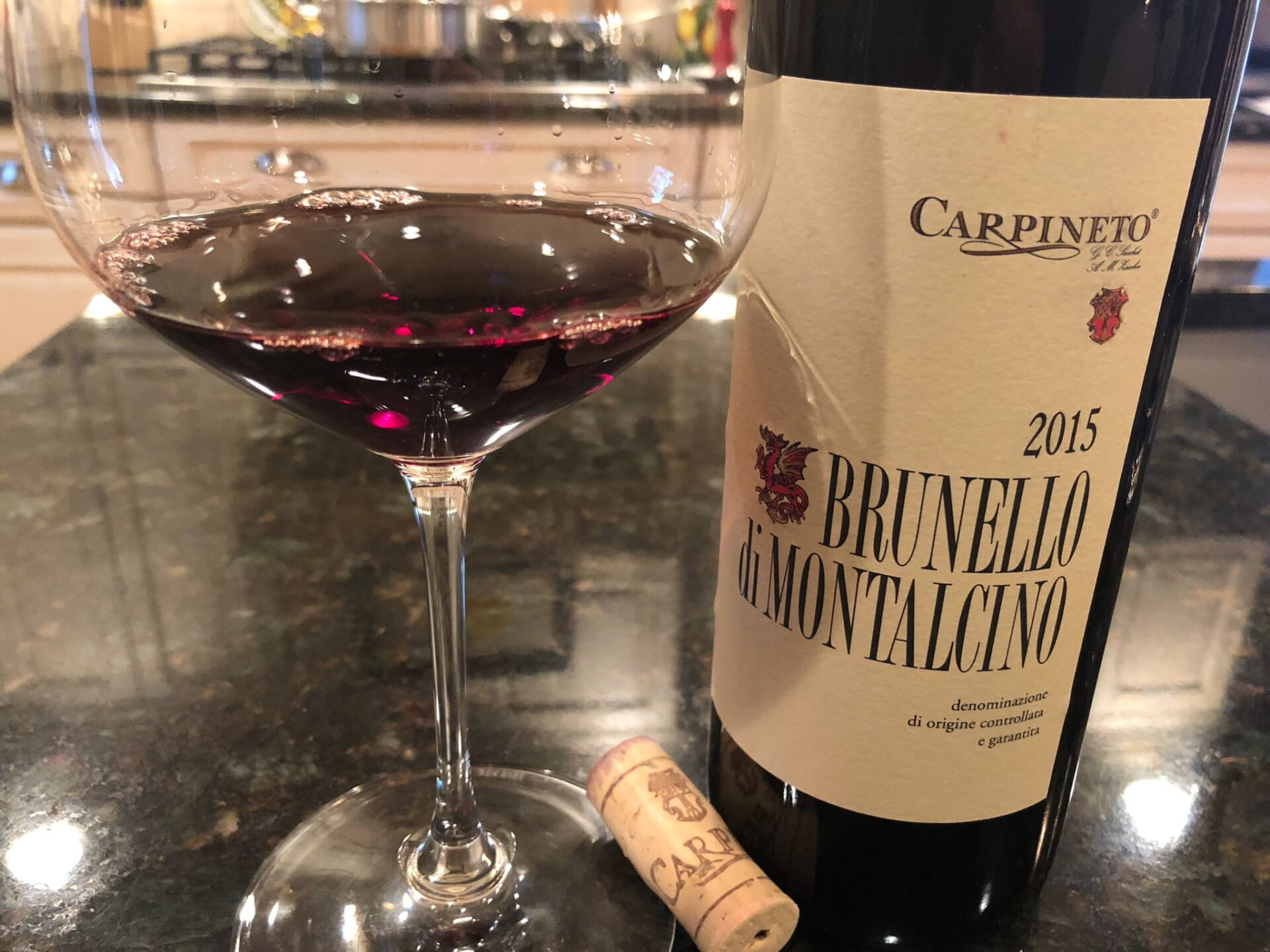 Brunello bottle and glass