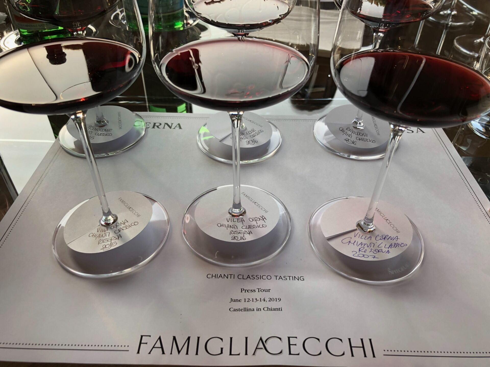 Wine glasses on tasting sheet