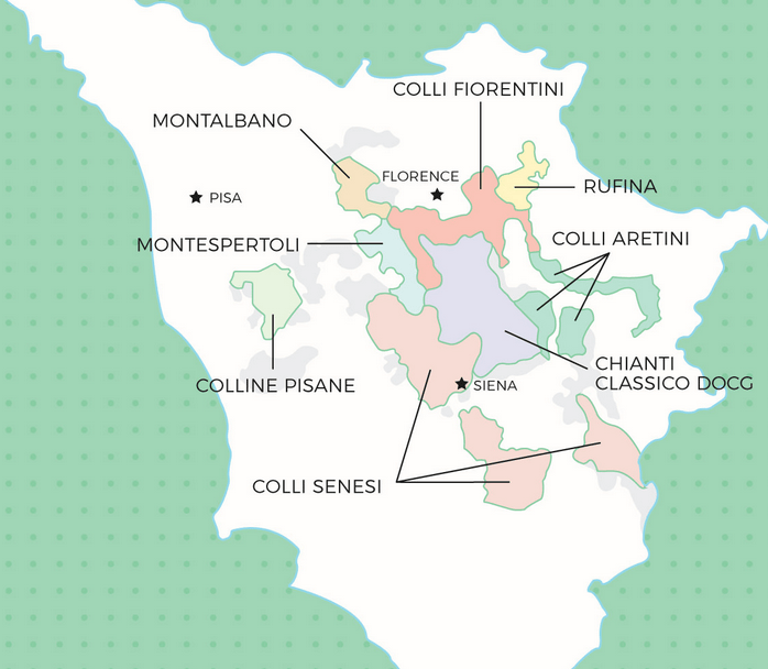 Map of all the Chianti districts