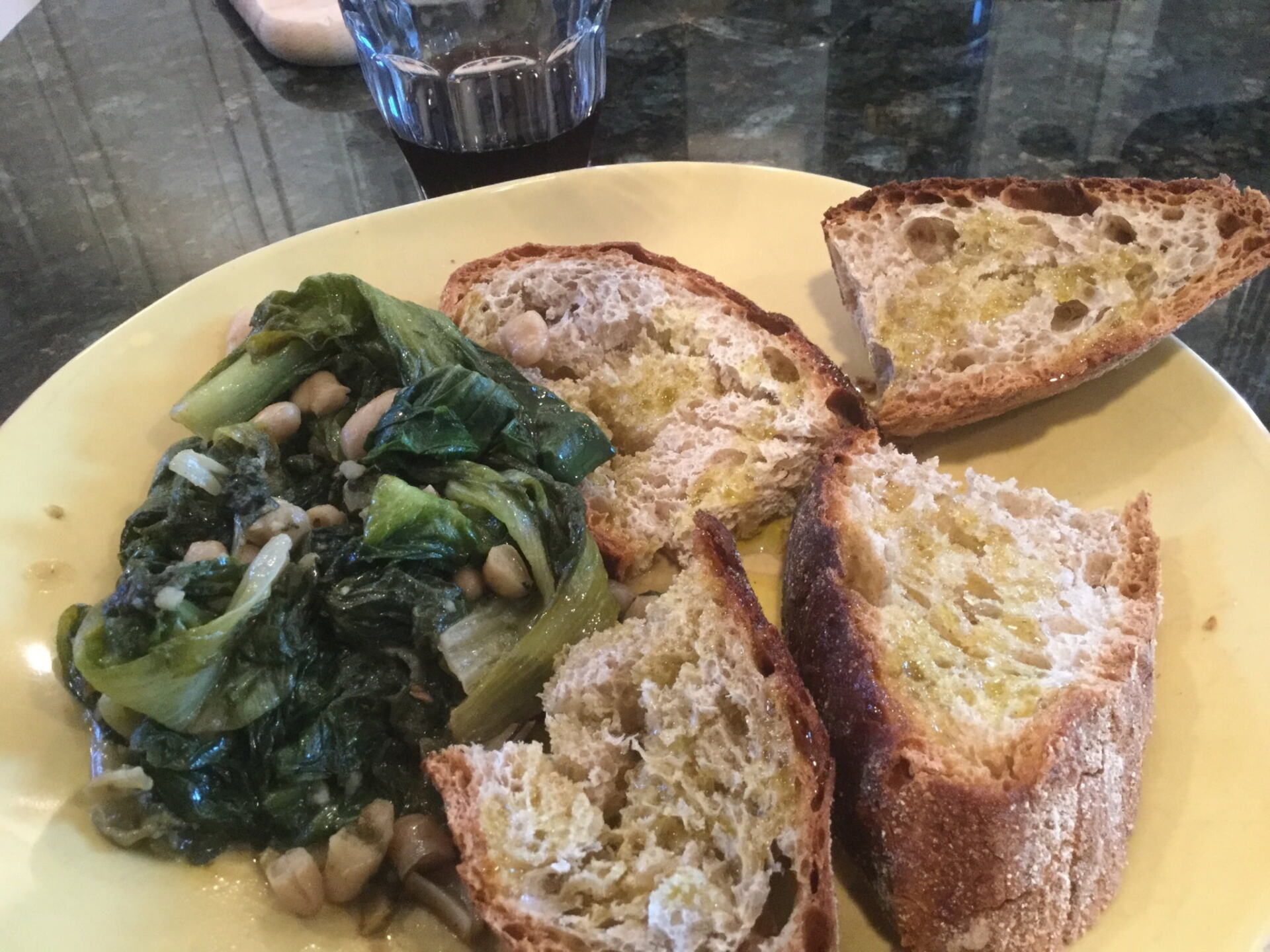 Escarole and beans with peasant bread