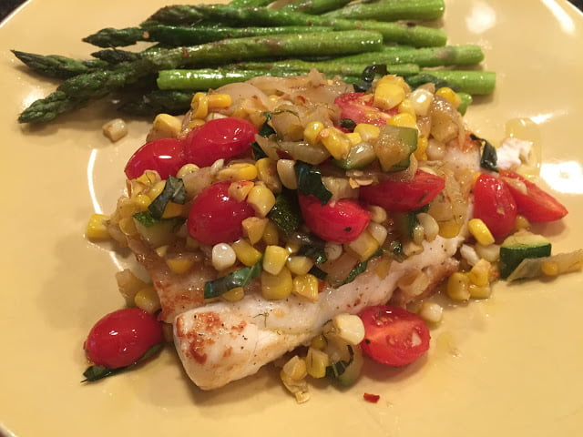 Halibut with Garden Vegetables, Asparagus and roasted corn