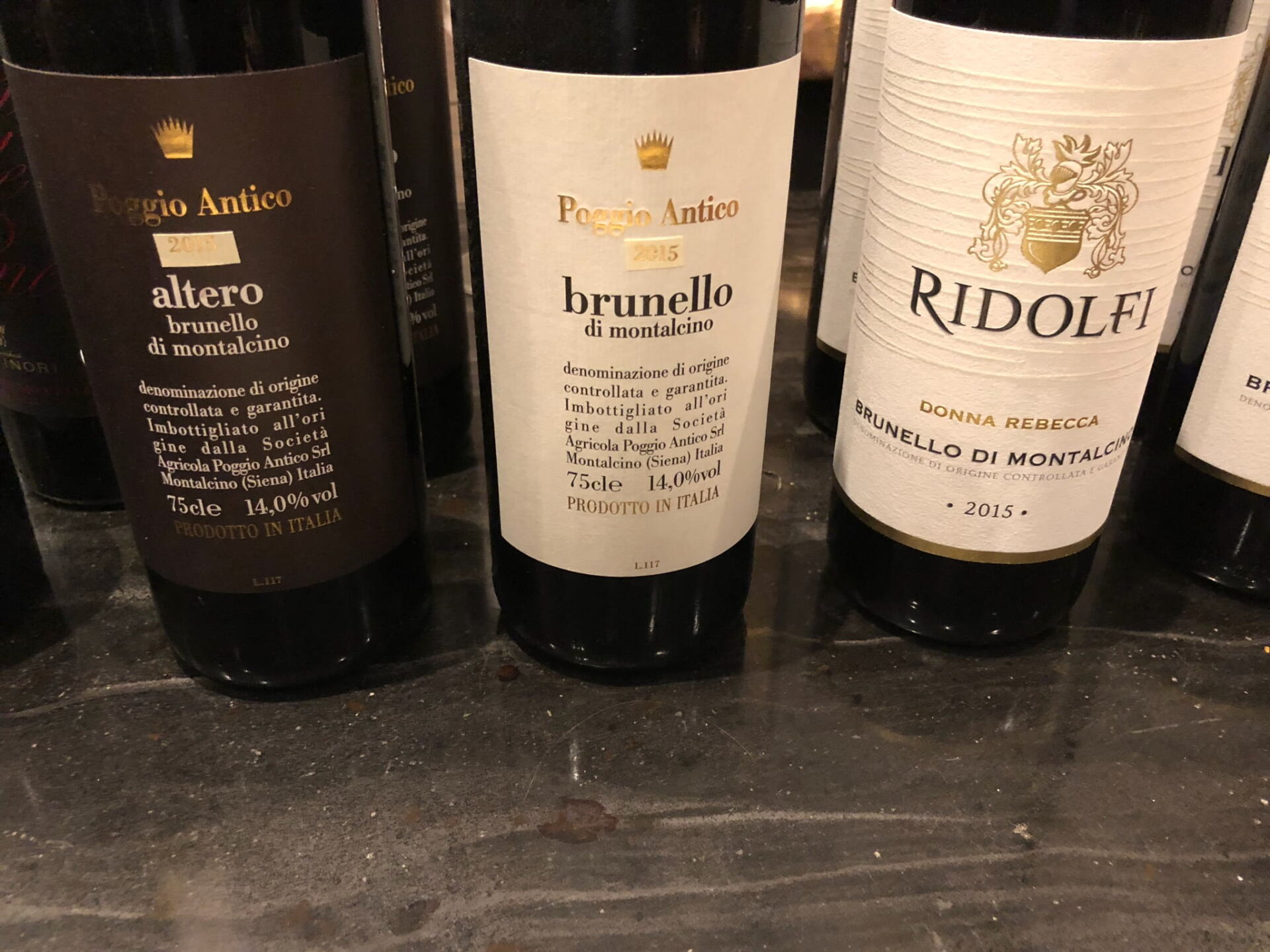 Three bottles of Brunello