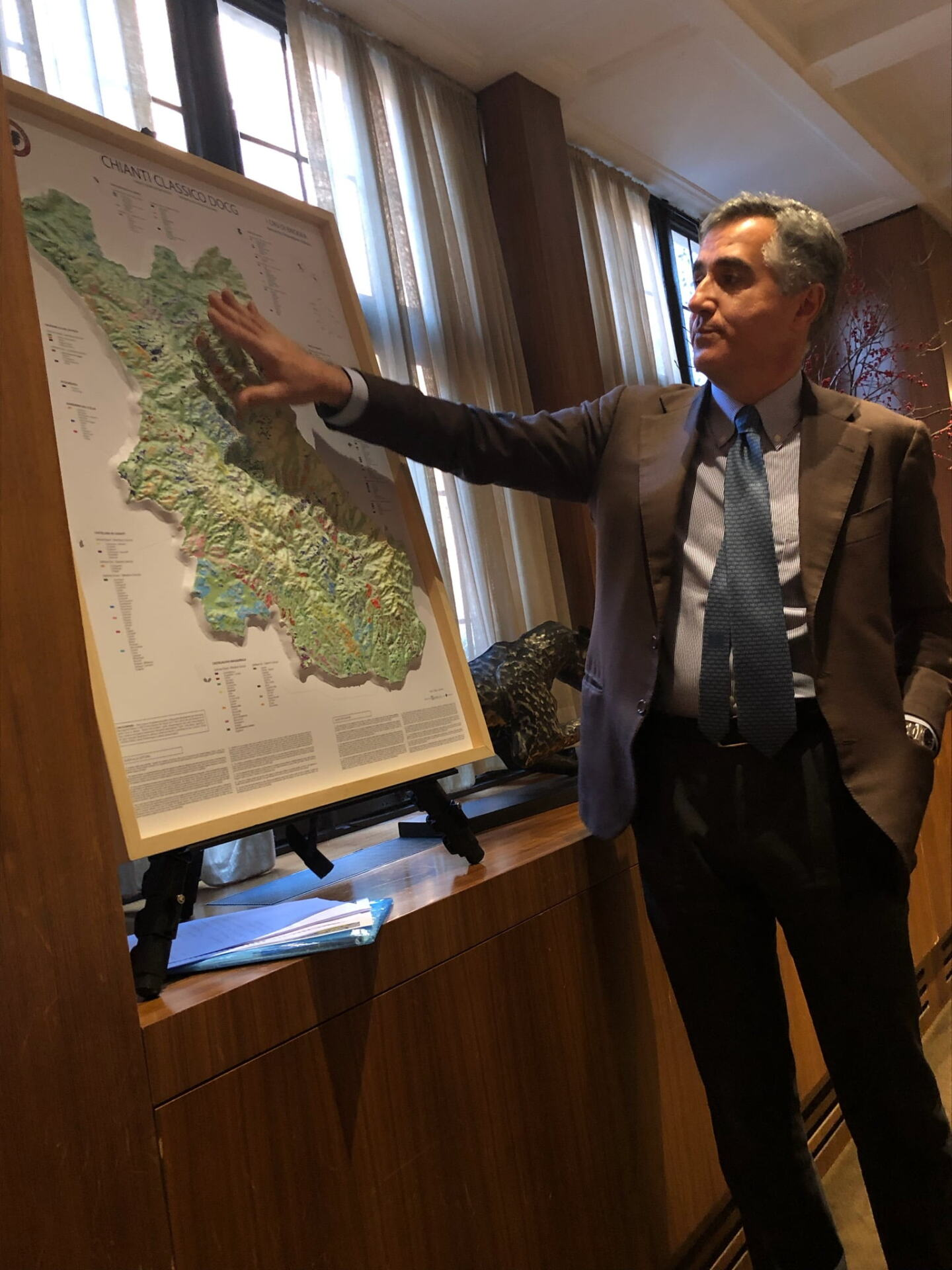 Giovanni Manetti point to a map of Chianti Classico