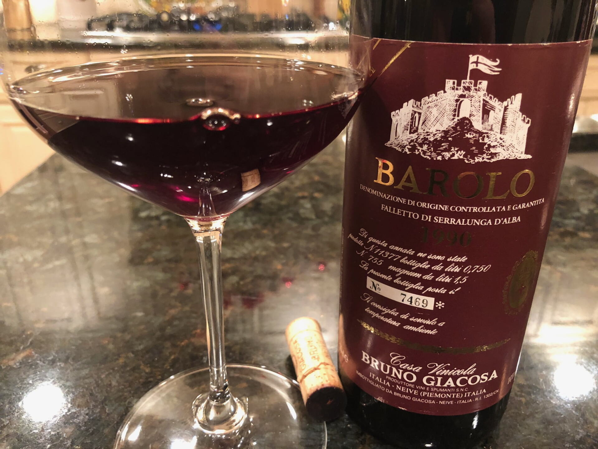 Bottle of Barolo wine and wine glass