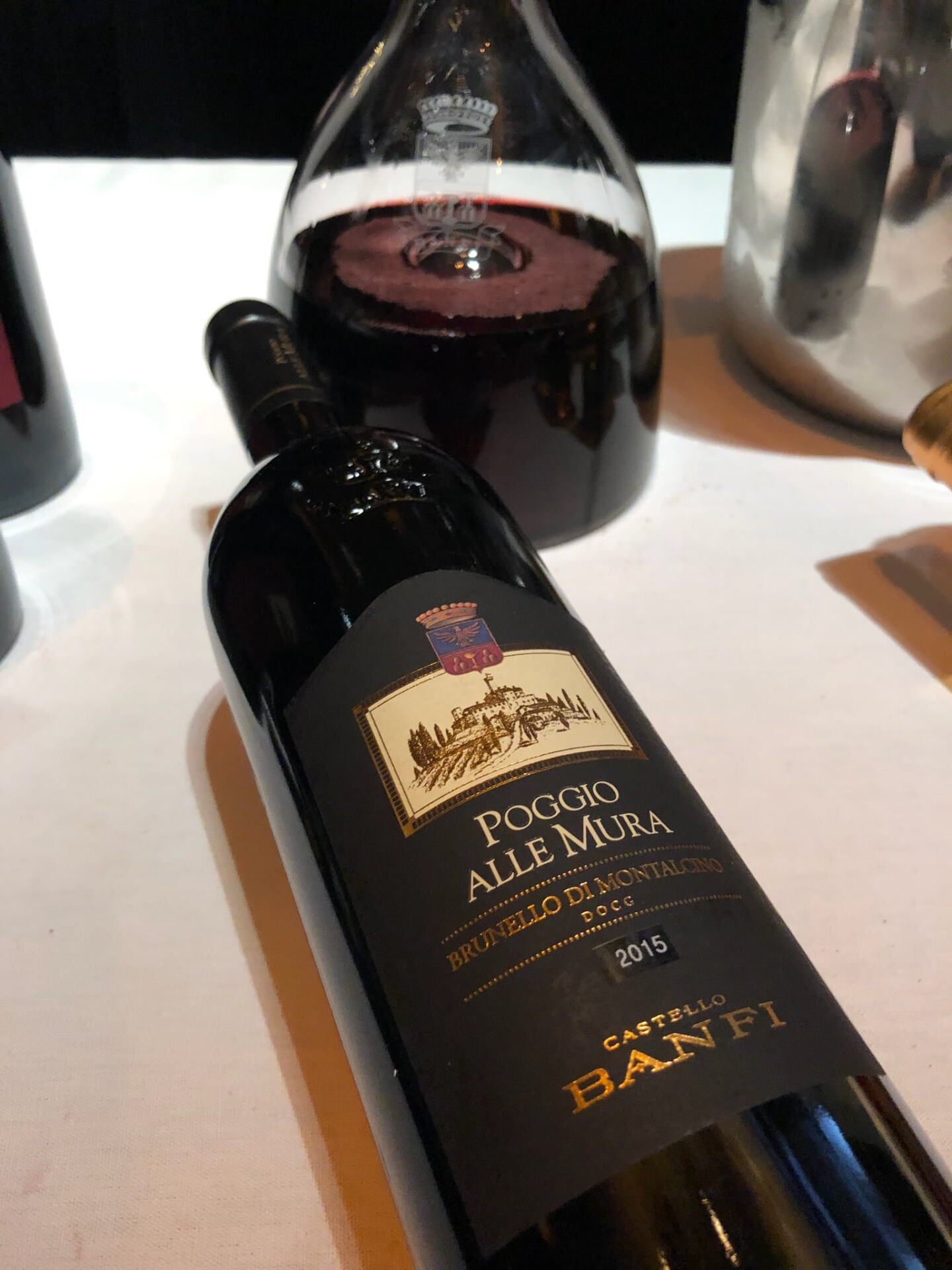 Bottle of Brunello and a decanter