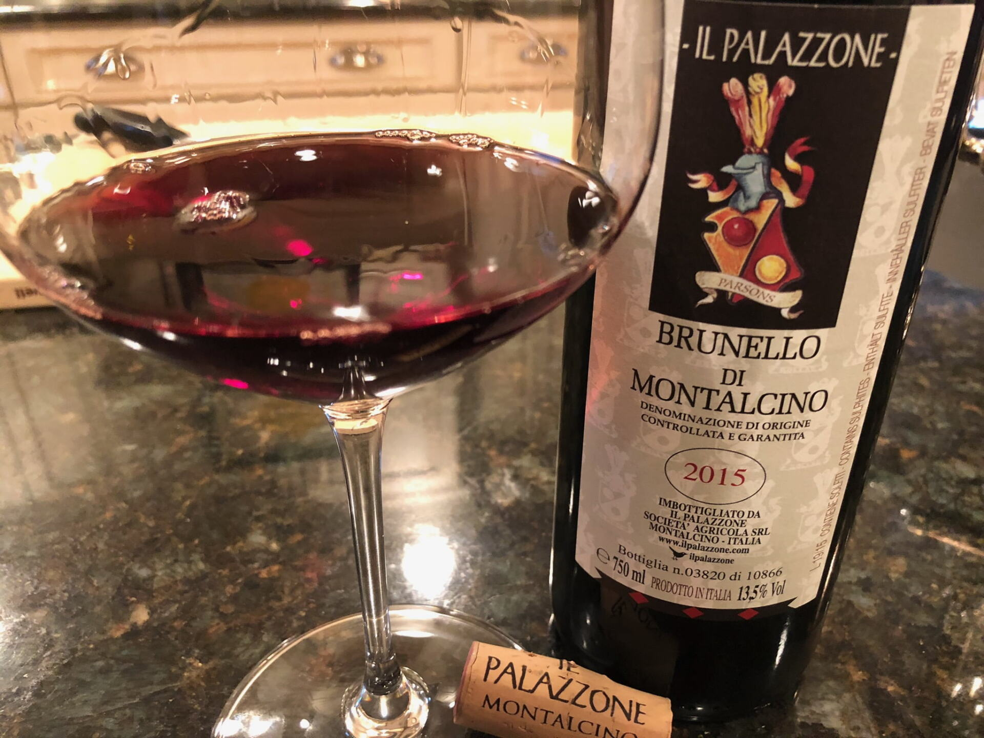 Brunello wine in a glass