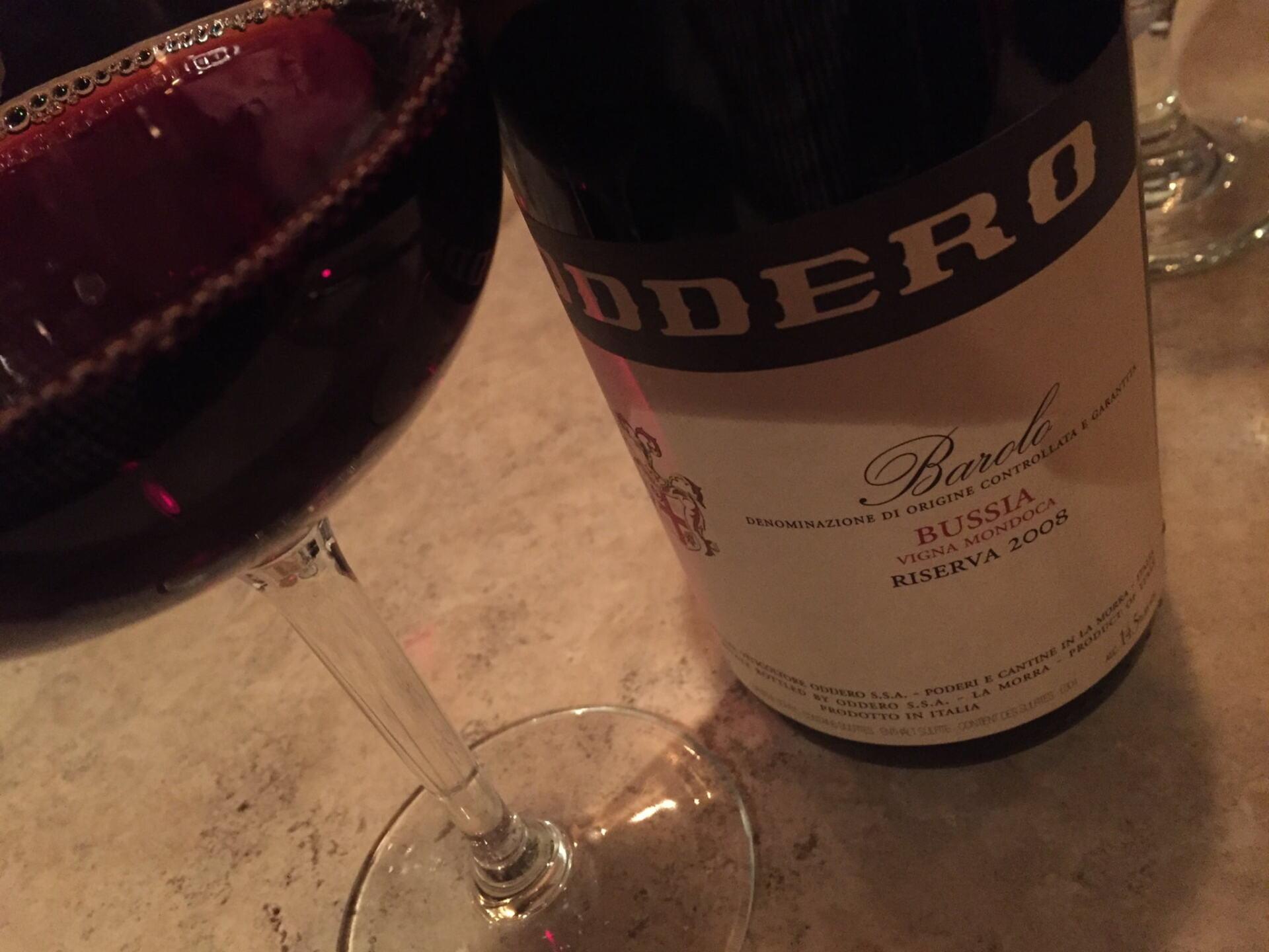Bottle and glass of Oddero Barolo wine