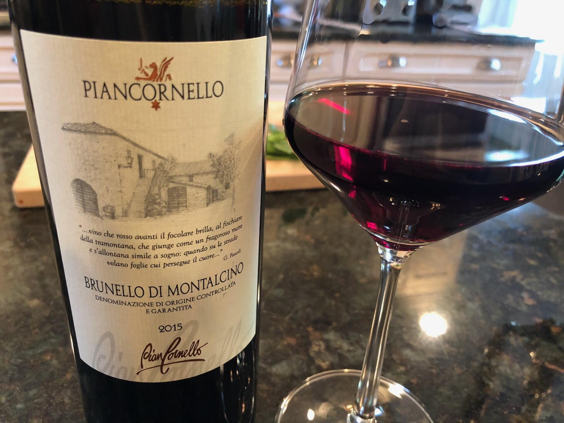 Piancornello Brunello wine in glass