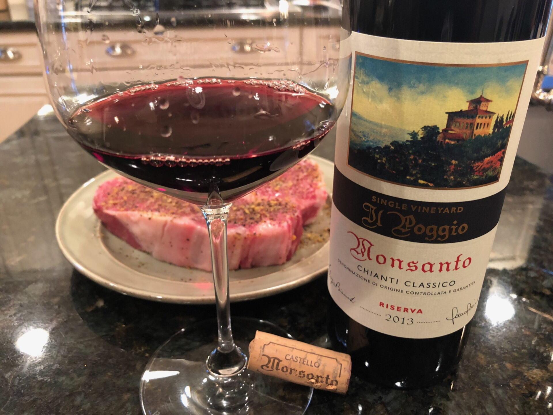 Monsanto Il Poggio in glass and bottle