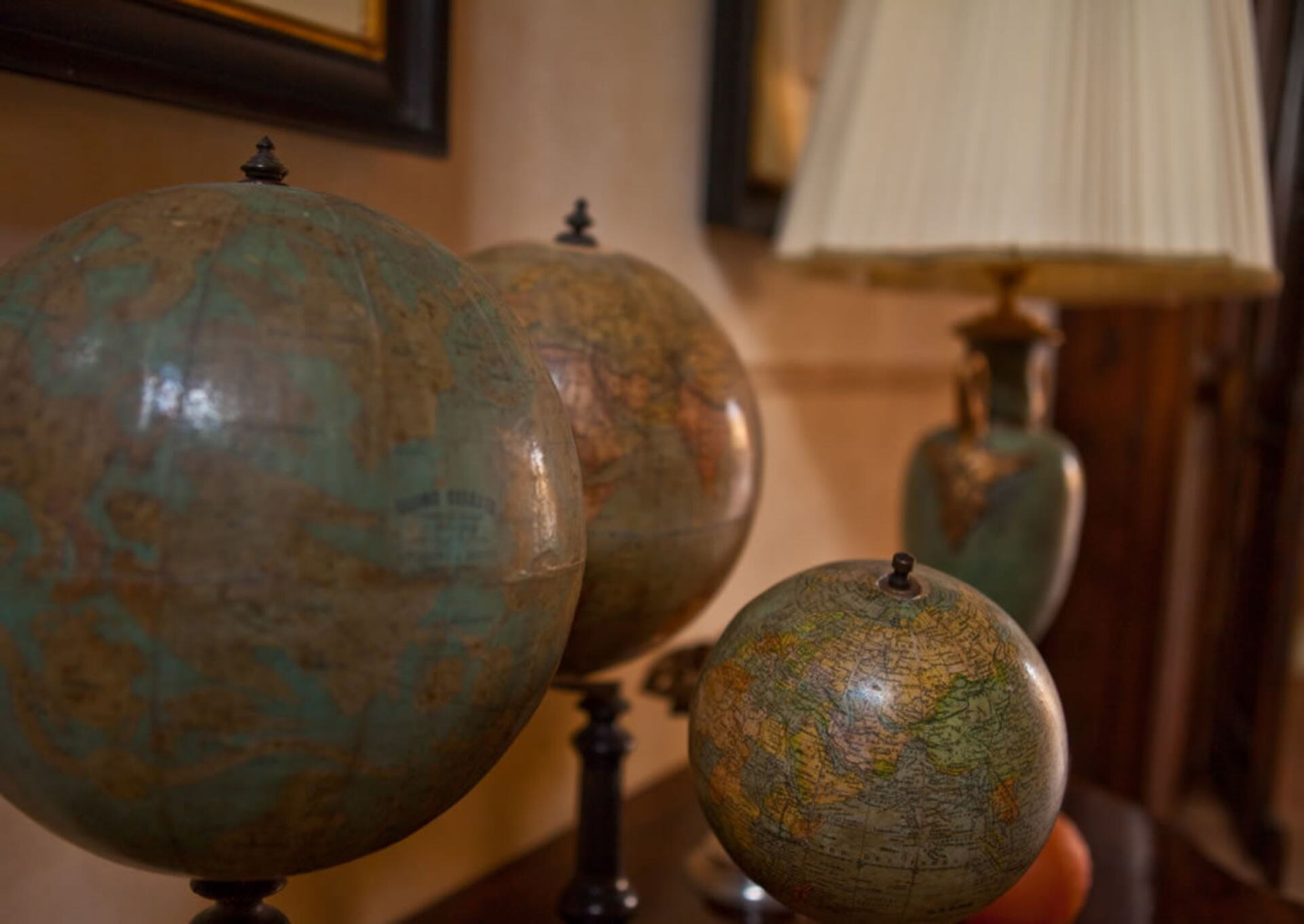 Globes showing Italy