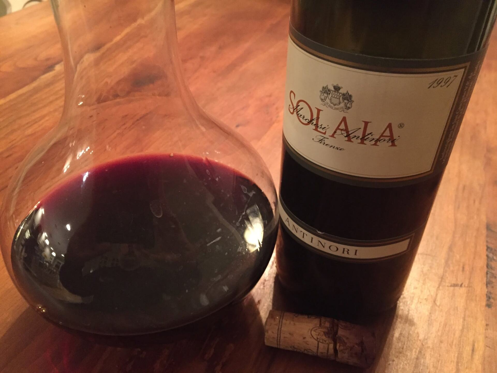Red Tuscan wine in a decanter. Solaia