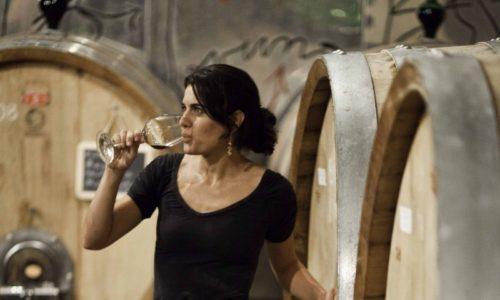 women in wine cellar drinking wine