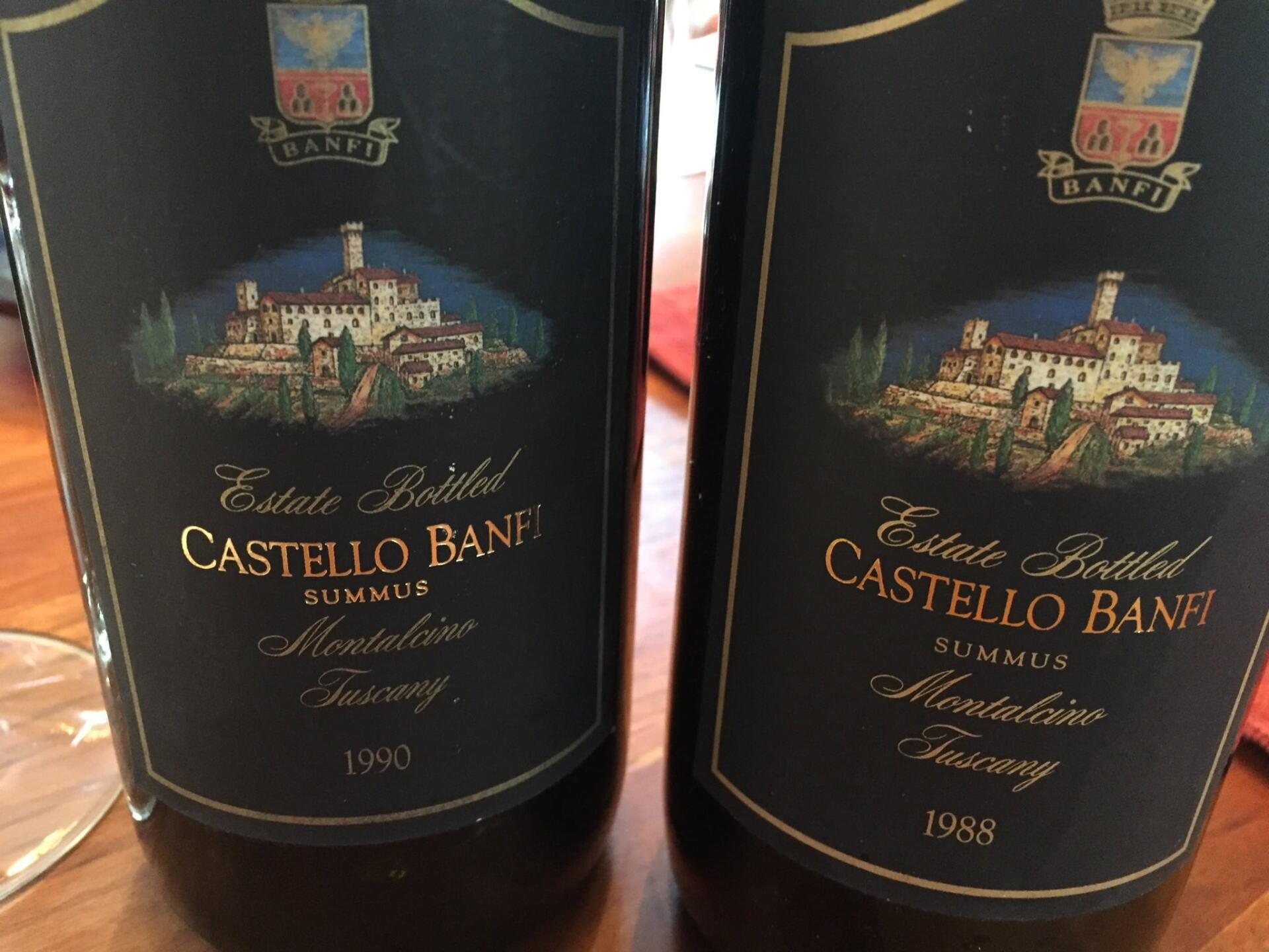 Summus wine bottles showing Castello Banfi