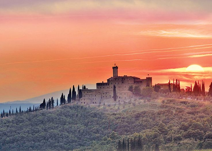 Sunset over Tuscan Castle