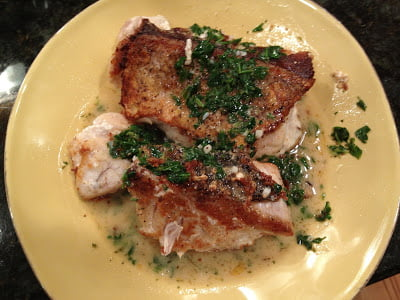 Pan Roasted Tile Fish, Buerre Blanc Butter wine sauce and Arugula garnish